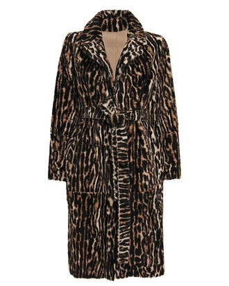 Ocelot-Printed Reversible Shearling Coat, BROWN/LEOPARD, hi-res