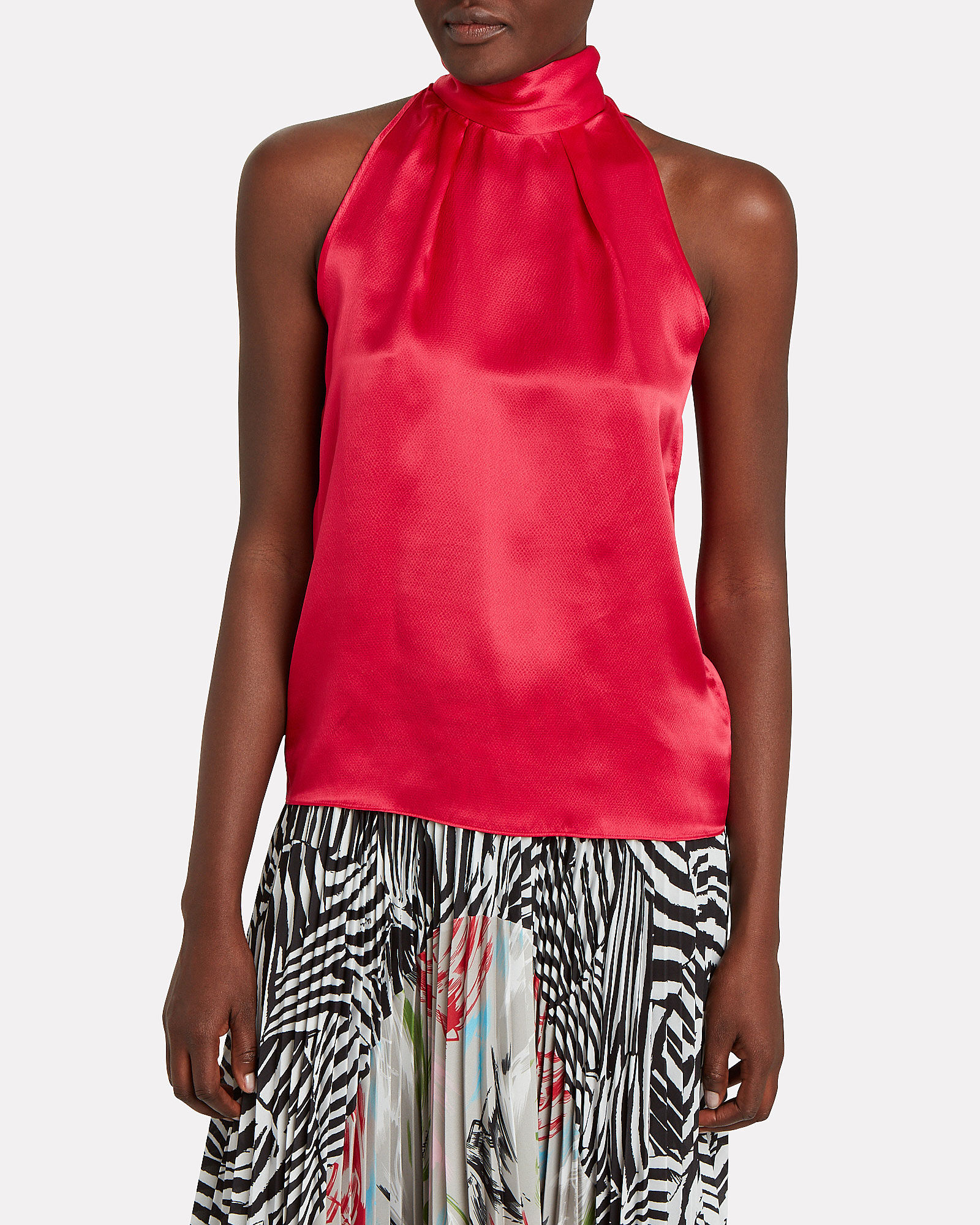Michelle High Neck Charmeuse Top, RED, hi-res