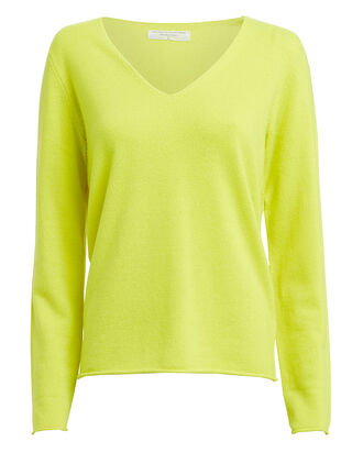 Cashmere V-Neck Sweater, NEON YELLOW, hi-res