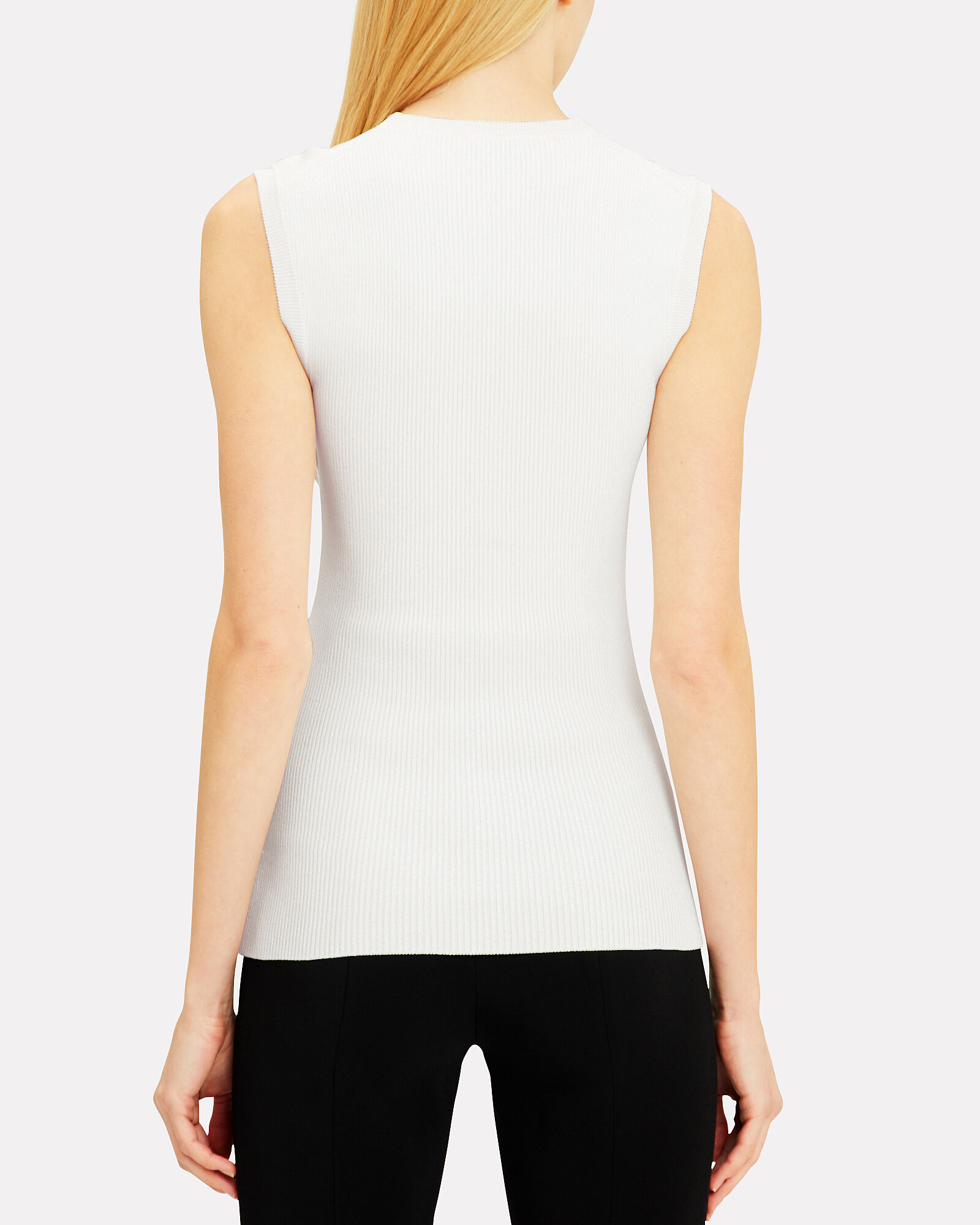 Mesh Panel Ivory Knit Top, IVORY, hi-res
