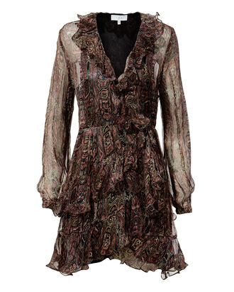 Giala Paisley Wrap Dress, BROWN, hi-res