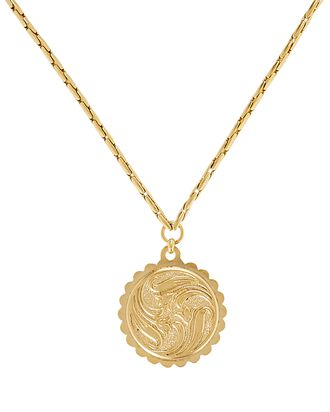 Fauna Medallion Snake Chain Necklace, GOLD, hi-res