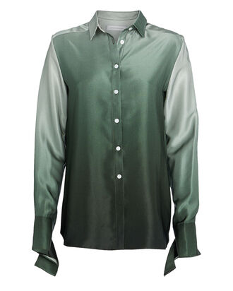 Ombré Silk Button Down Shirt, MOSS OMBRE, hi-res