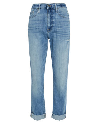 Le Beau Straight Cuffed Jeans, LIGHT WASH DENIM, hi-res