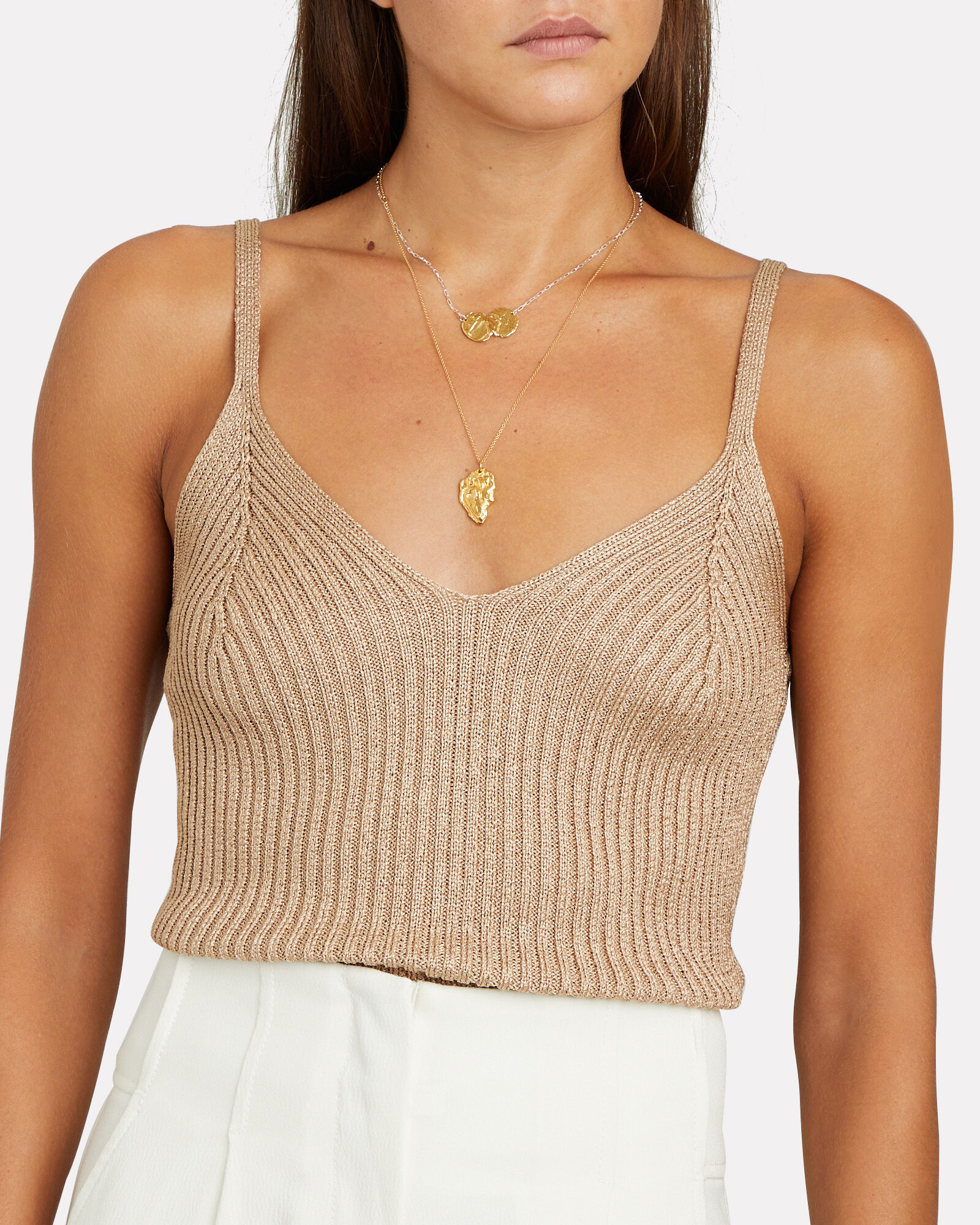 Vaughn Sleeveless Knit Top, BEIGE, hi-res