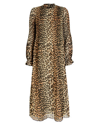 Pleated Georgette Leopard Dress, BROWN/LEOPARD, hi-res
