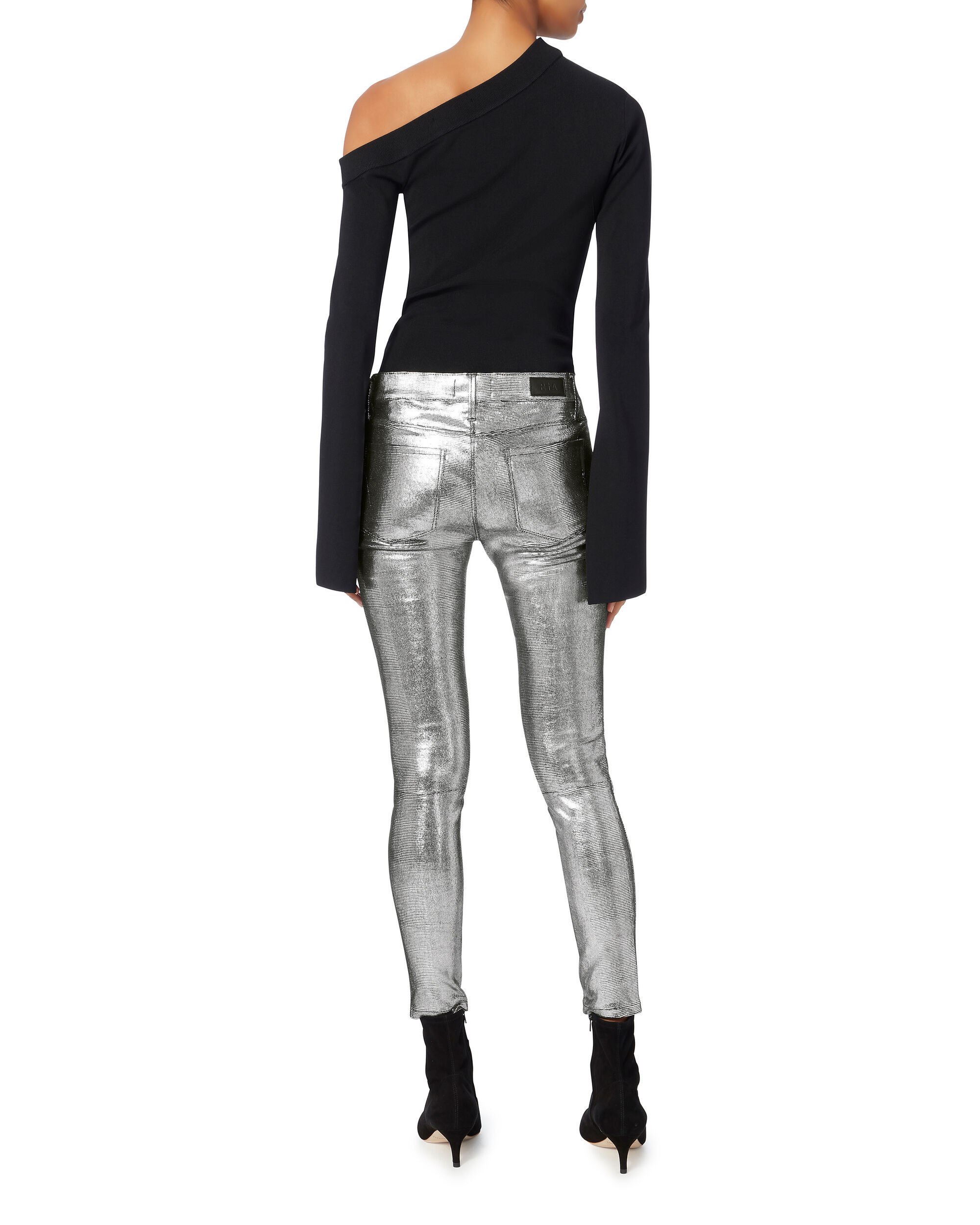 Metallic Leather Jeans, SILVER, hi-res