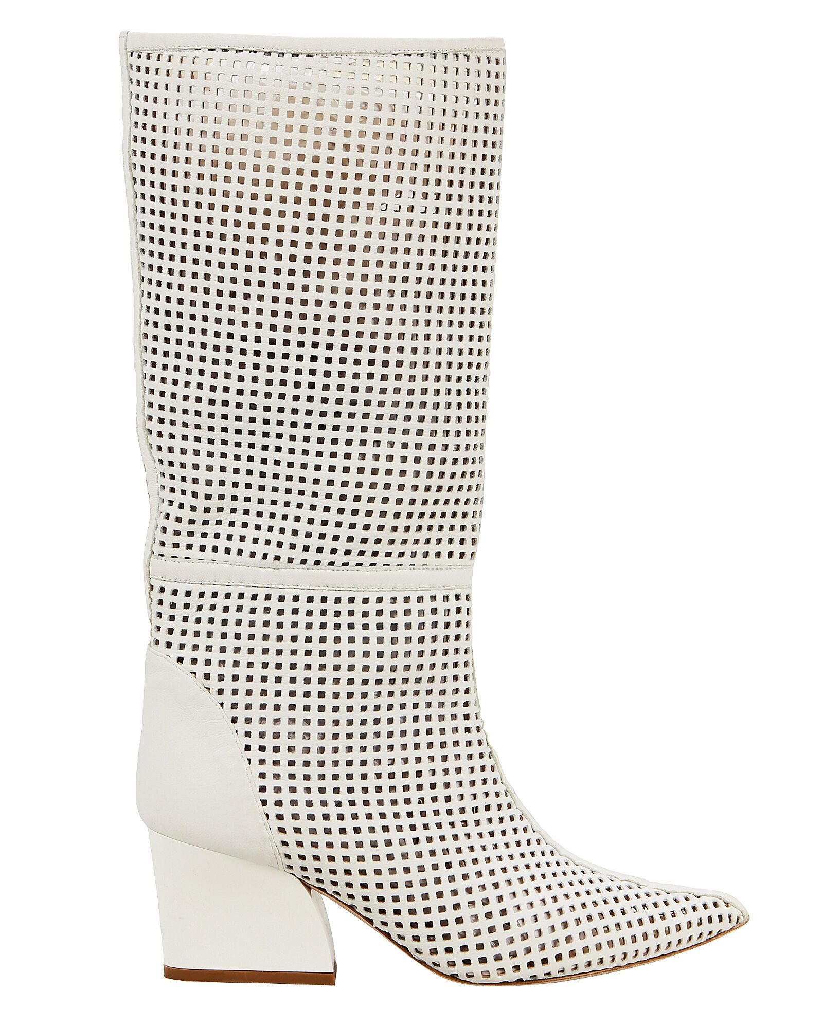 Luca Cutout White Leather Boots, WHITE, hi-res