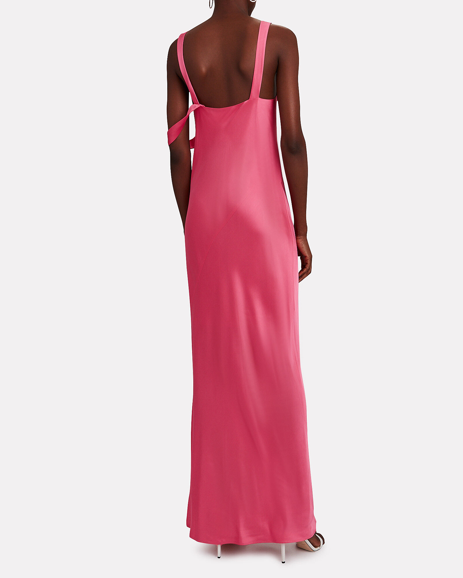 Sash Front Satin Gown, PINK, hi-res
