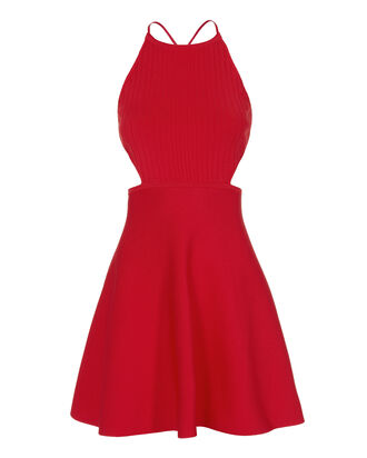 Lace-Up Back Flare Knit Dress, RED, hi-res