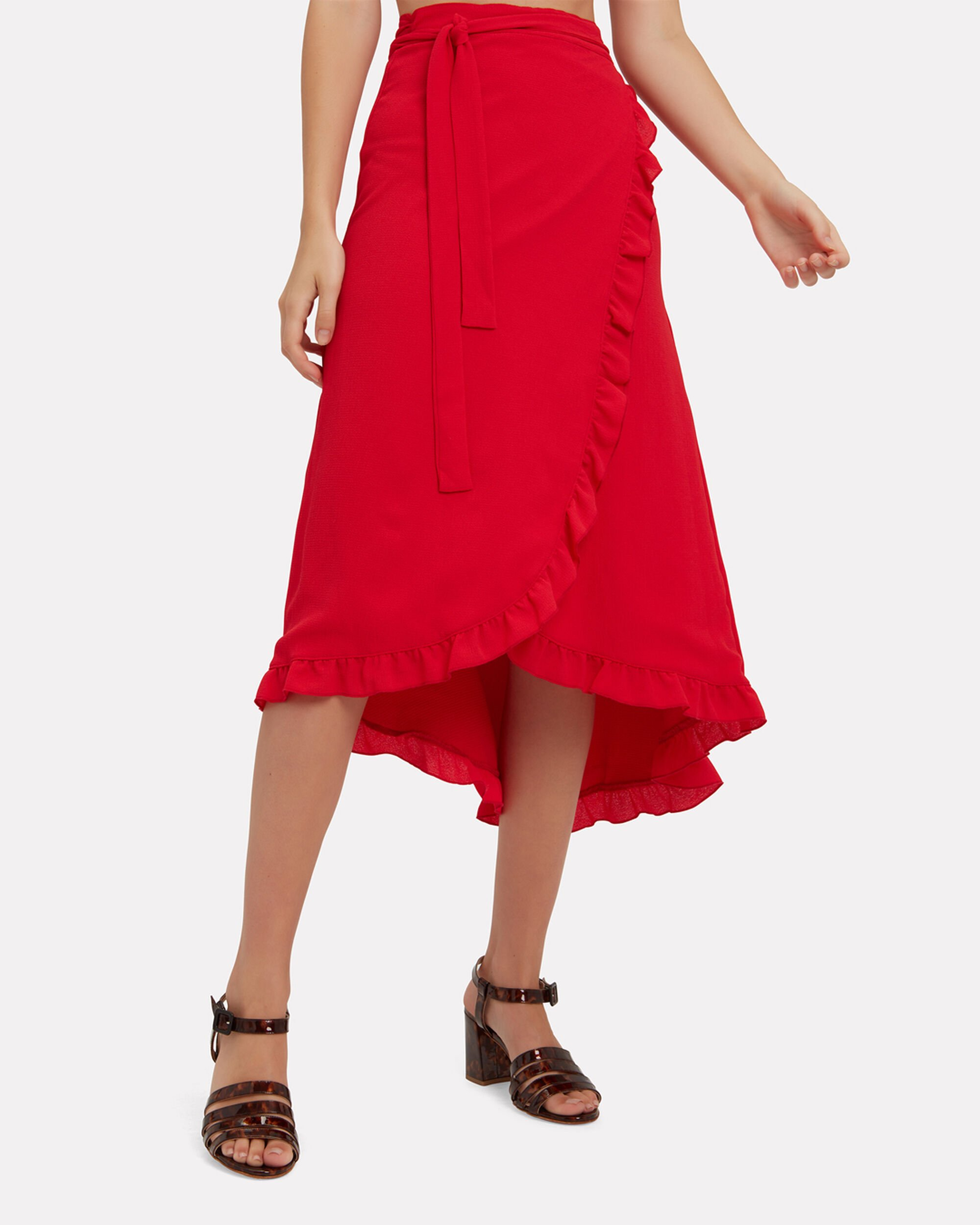 Emma Midi Skirt, RED, hi-res