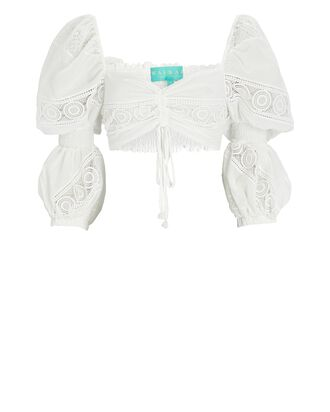 Sevillana Embroidered Crop Top, WHITE, hi-res
