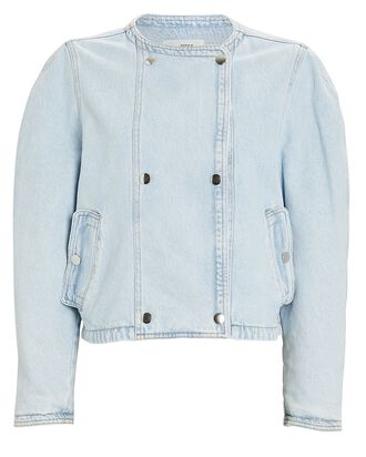 Lisoa Double-Breasted Denim Jacket, BLUE-LT, hi-res