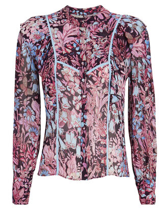 Beatrix Ruffled Floral Button-Down Blouse, MULTI, hi-res