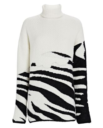 Aranos Zebra Jacquard Turtleneck Sweater, MULTI, hi-res