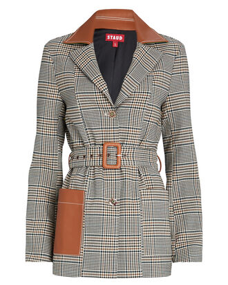 Paprika Belted Plaid Blazer, GREY/BROWN, hi-res