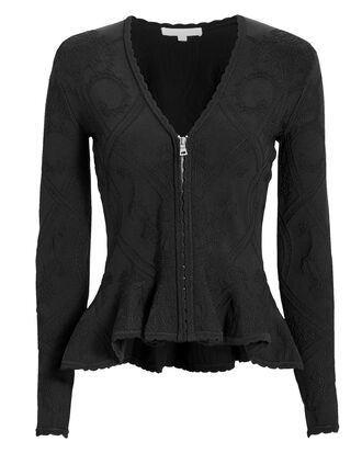Jacquard Peplum Jacket, BLACK, hi-res