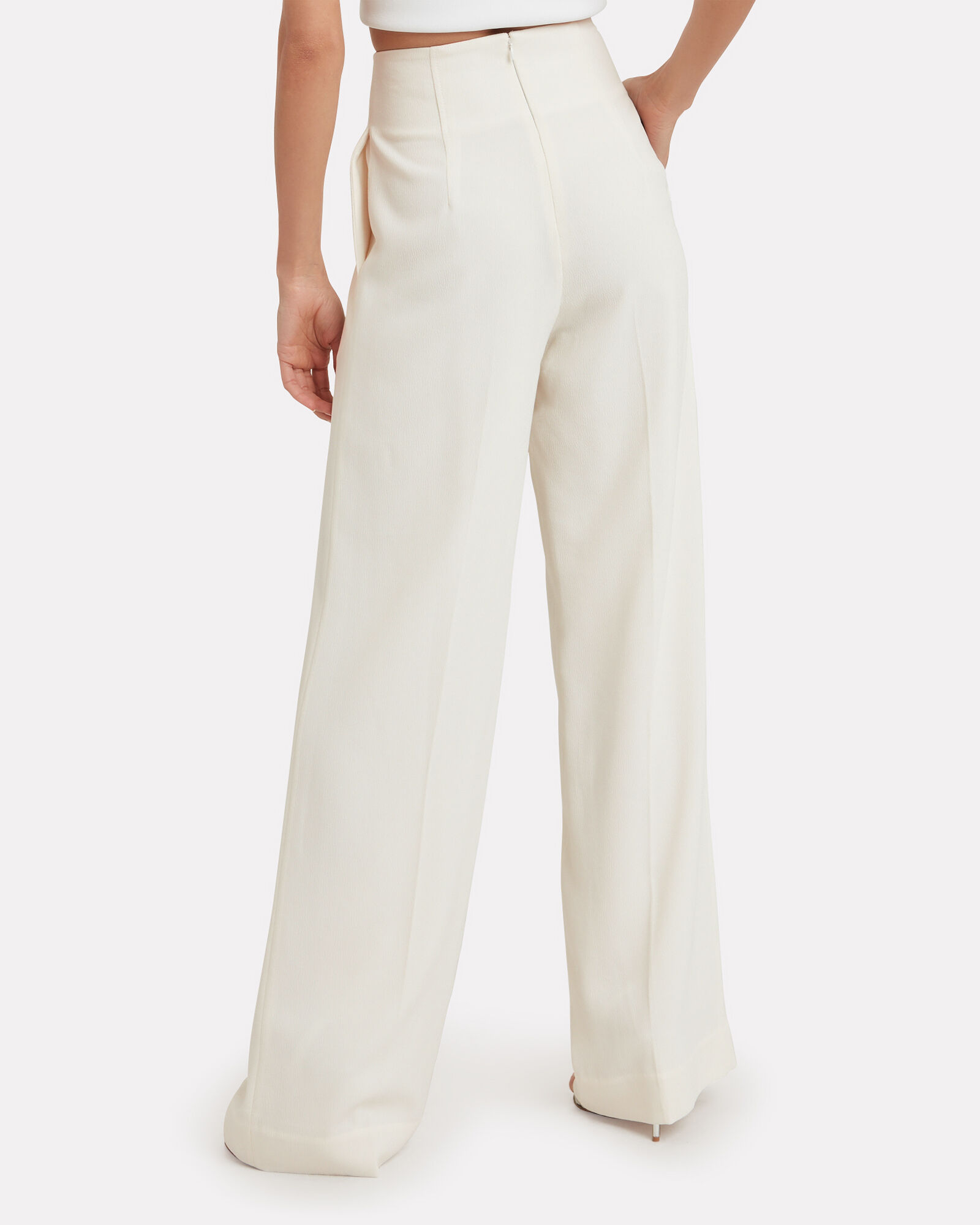 Crepe Wide Leg Pants, IVORY, hi-res