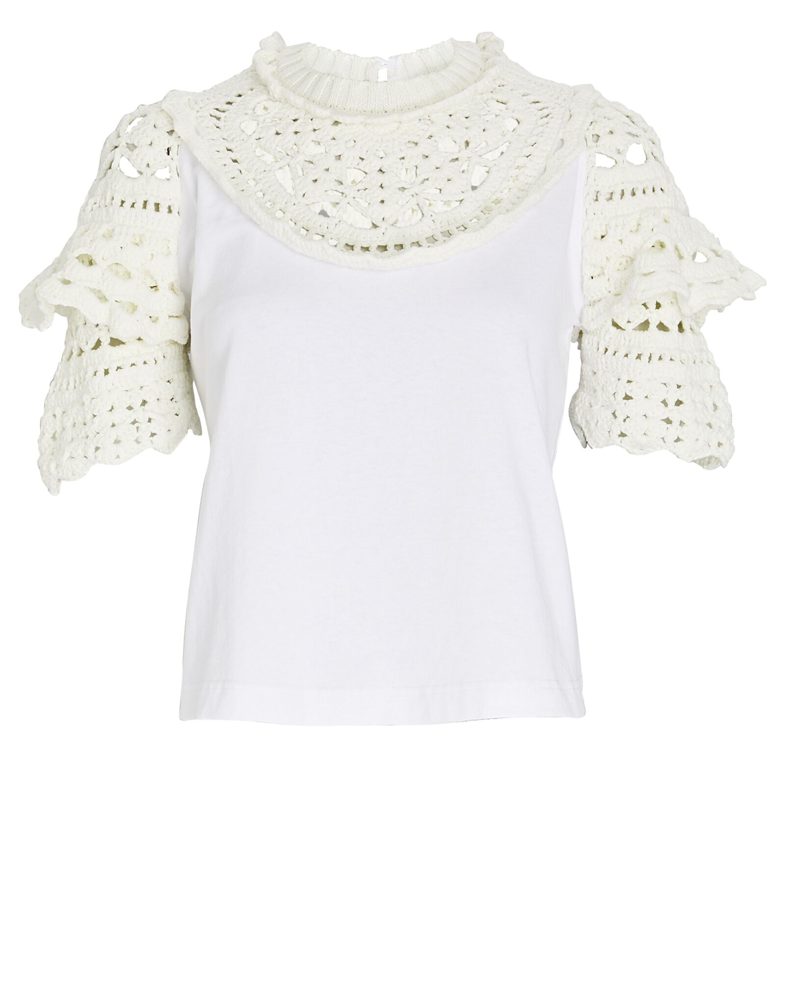 Cleo Crochet-Trimmed Top, WHITE, hi-res