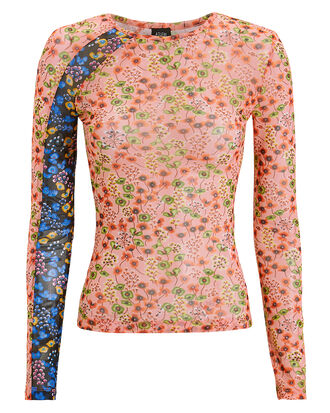 Floral Stretch Racing Top, PINK/BLUE/FLORAL, hi-res