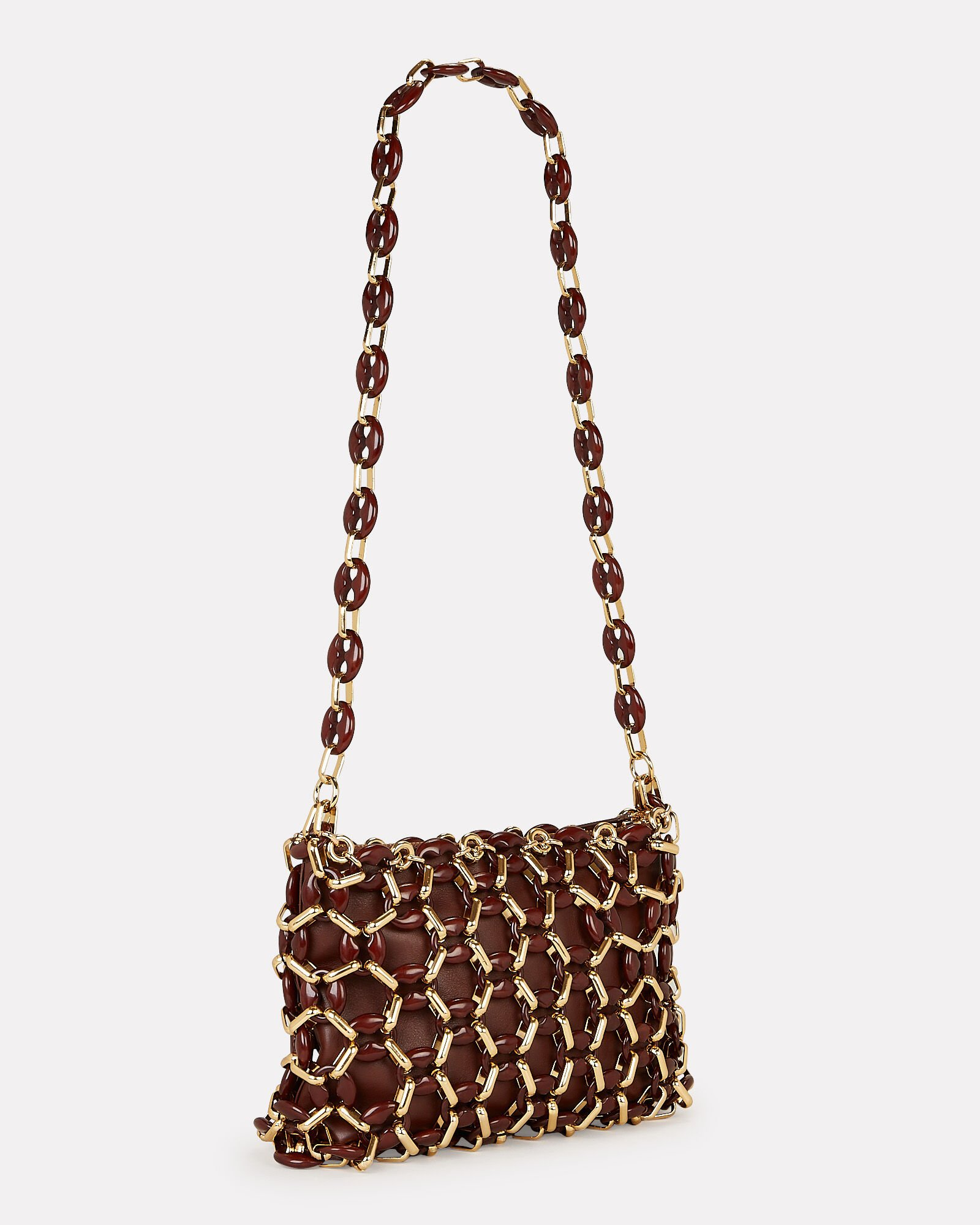 Capria Chain Leather Bag, BROWN, hi-res
