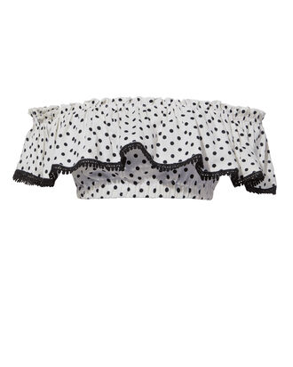 Off Shoulder Polka Dot Crop Top, BLK/WHT, hi-res