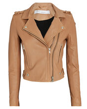 Dylan Cropped Leather Moto Jacket, BROWN, hi-res