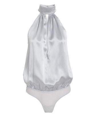 Silk High Neck Keyhole Bodysuit, SILVER, hi-res