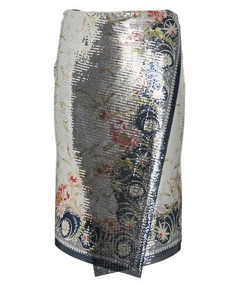 Printed Mesh Mini Wrap Skirt, MULTI, hi-res