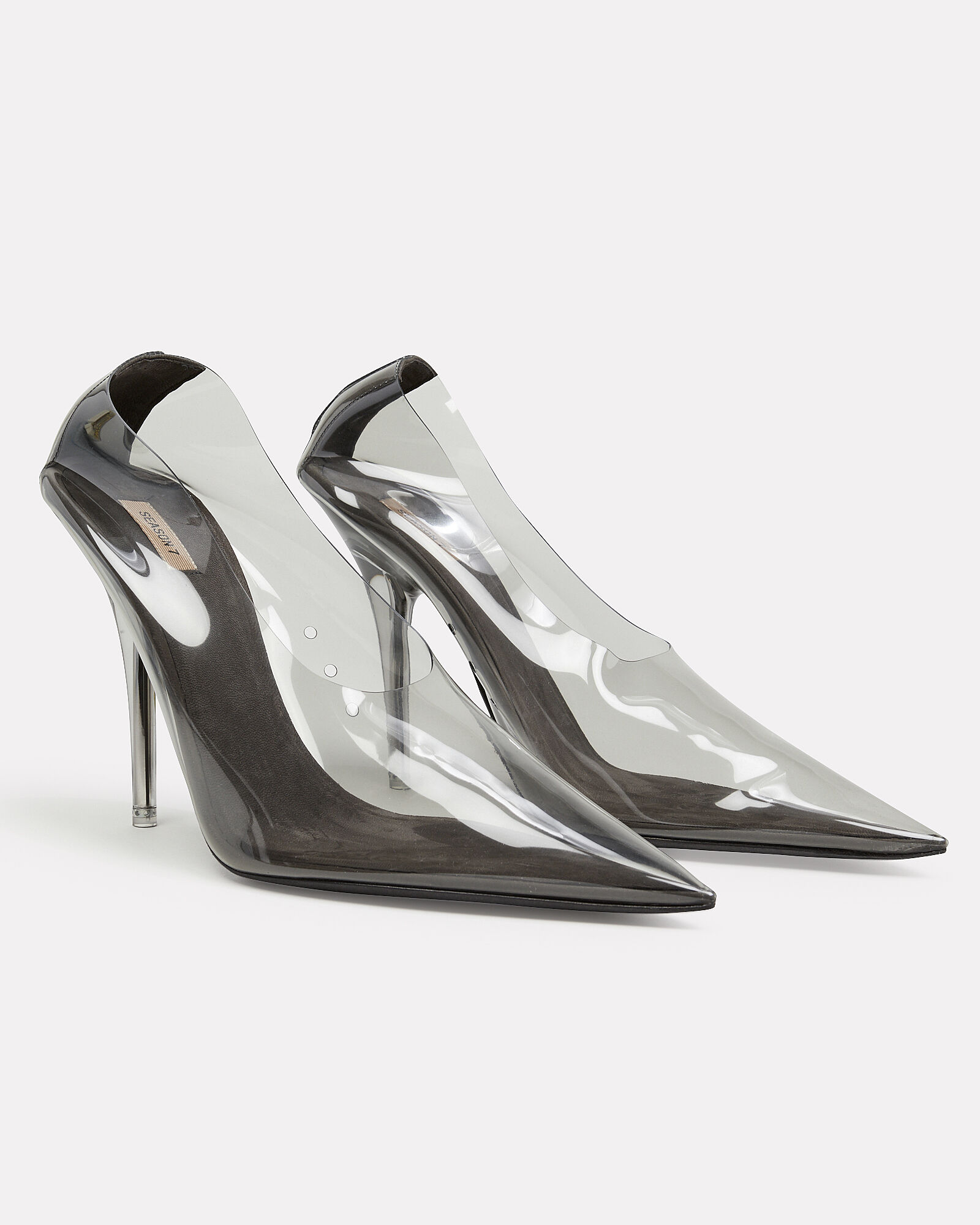 Clear Pointed Toe Pumps, BLACK, hi-res