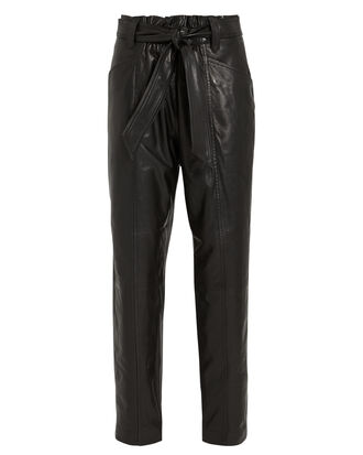Davins Leather Paperbag Trousers, BLACK, hi-res