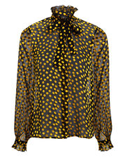 Emile Sheer Black Polka Dot Blouse, BLACK/GOLD, hi-res