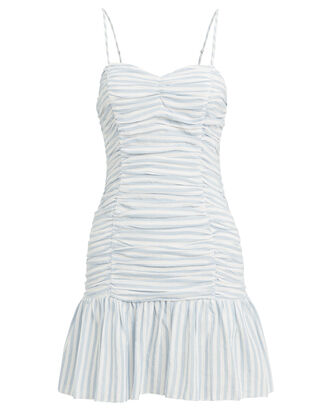 Audrey Ruched Mini Dress, NAVY/WHITE, hi-res