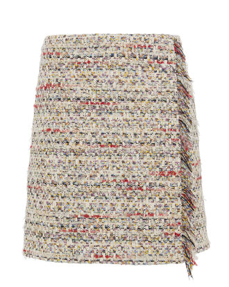 Cotton Tweed Wrap Mini Skirt, MULTI, hi-res