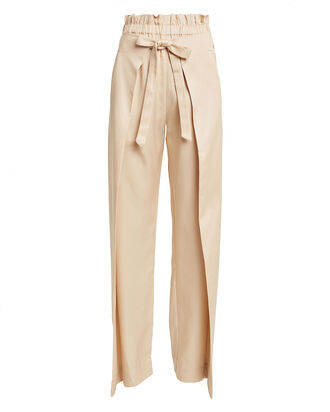 PJ Wrap-Effect Wide Leg Pants, WHEAT, hi-res