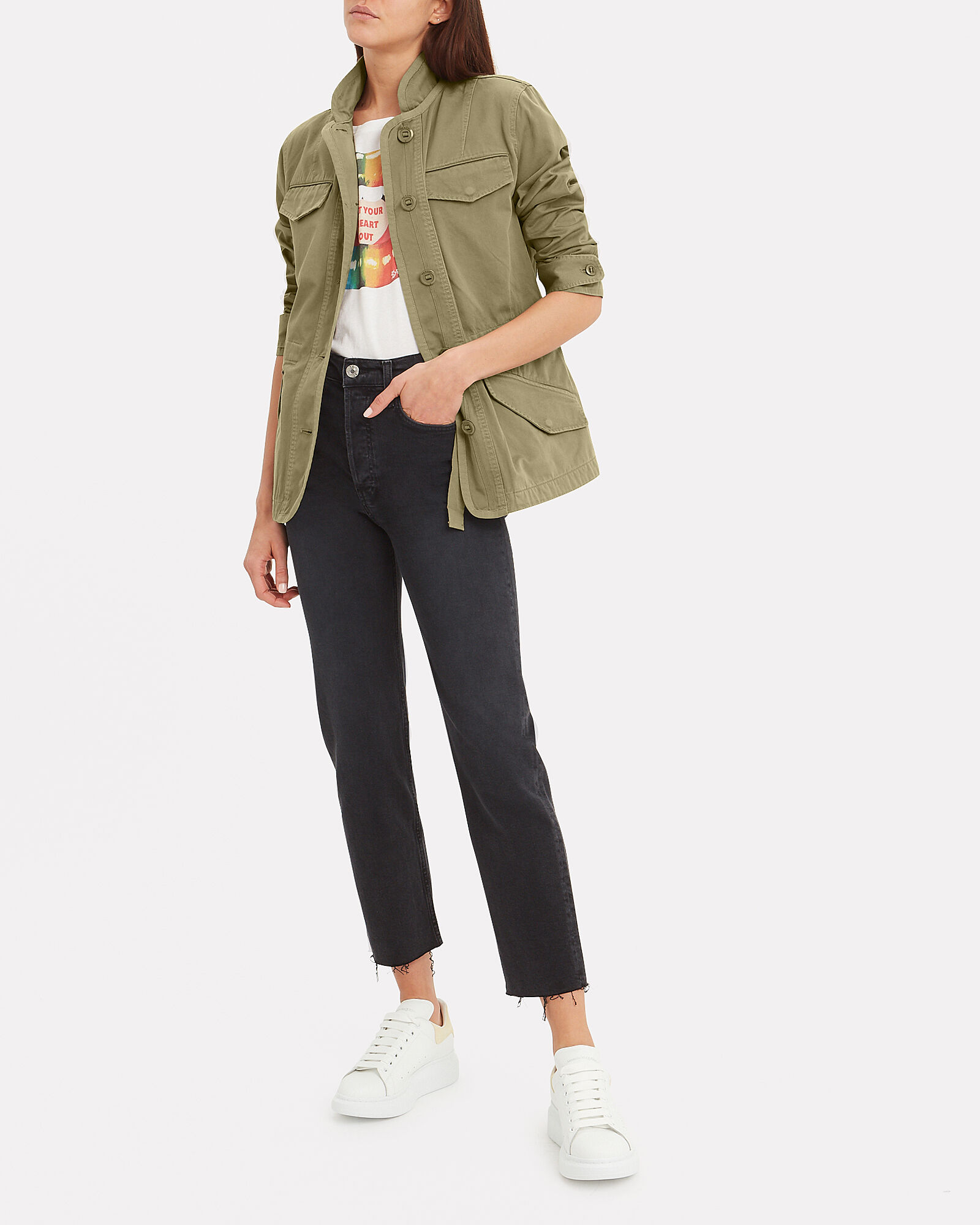 Daniella Washed Cotton Canvas Jacket, OLIVE, hi-res