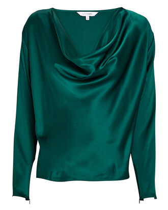 Quinn Silk Cowl Neck Blouse, GREEN, hi-res