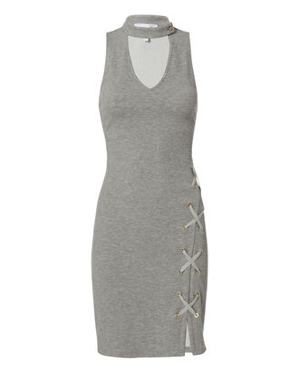 Choker Ribbed Knit Dress, GREY, hi-res