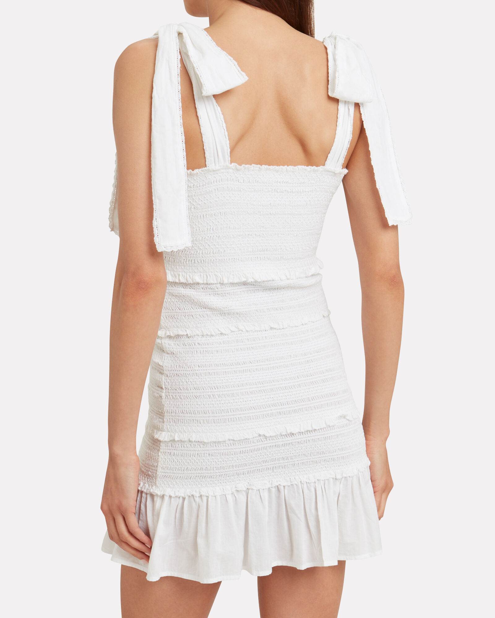 Belle Smocked Cotton Dress, WHITE, hi-res