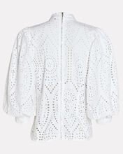 Cotton Eyelet Puff Sleeve Blouse, WHITE, hi-res