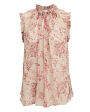 Sleeveless Floral Blouse, IVORY/PINK, hi-res