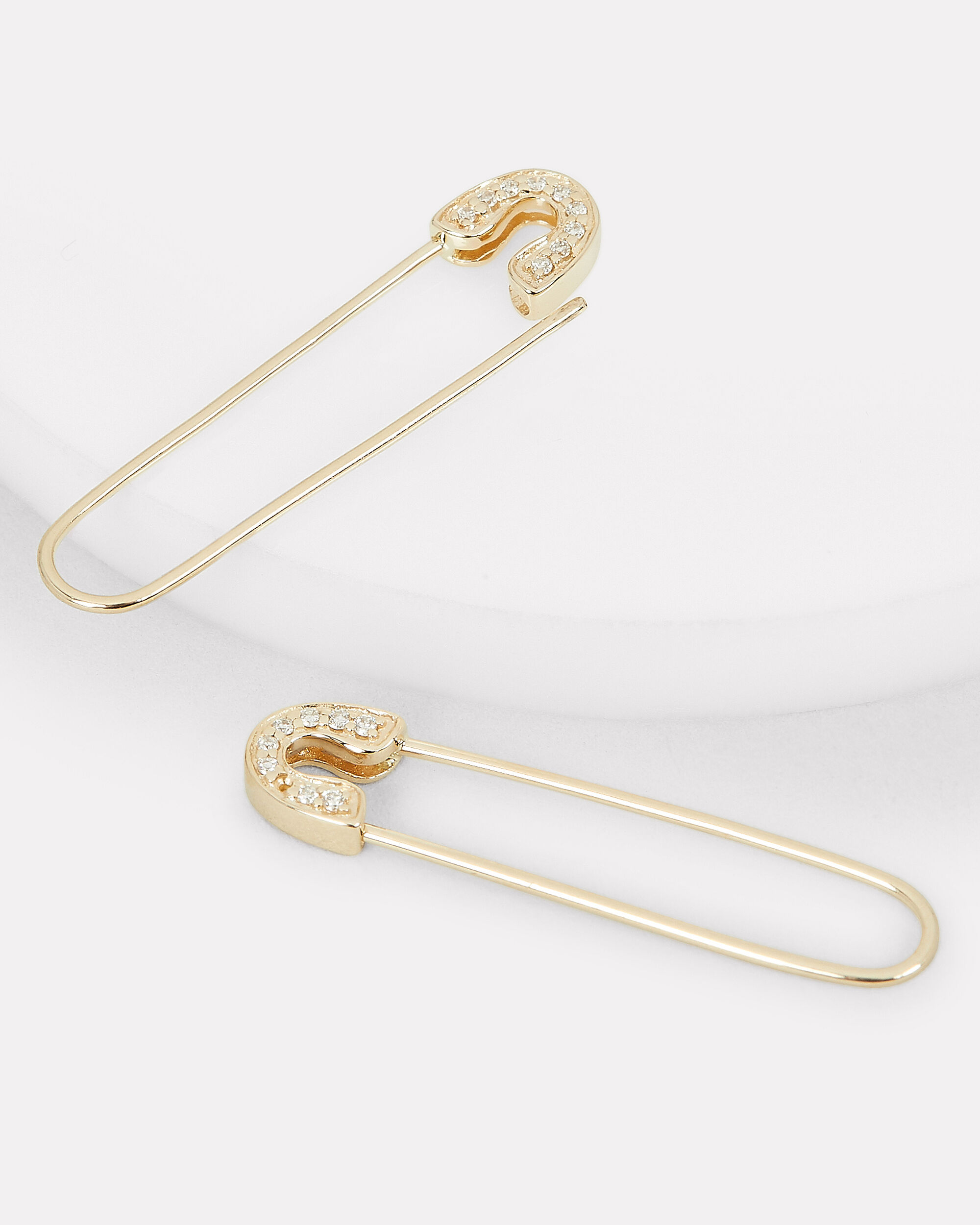 Pavé Diamond Safety Pin Earrings, GOLD, hi-res