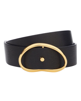 Georgia Wide Leather Belt, BLACK, hi-res