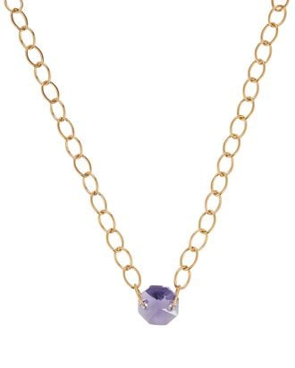 Gem Chain-Link Choker Necklace, PURPLE, hi-res