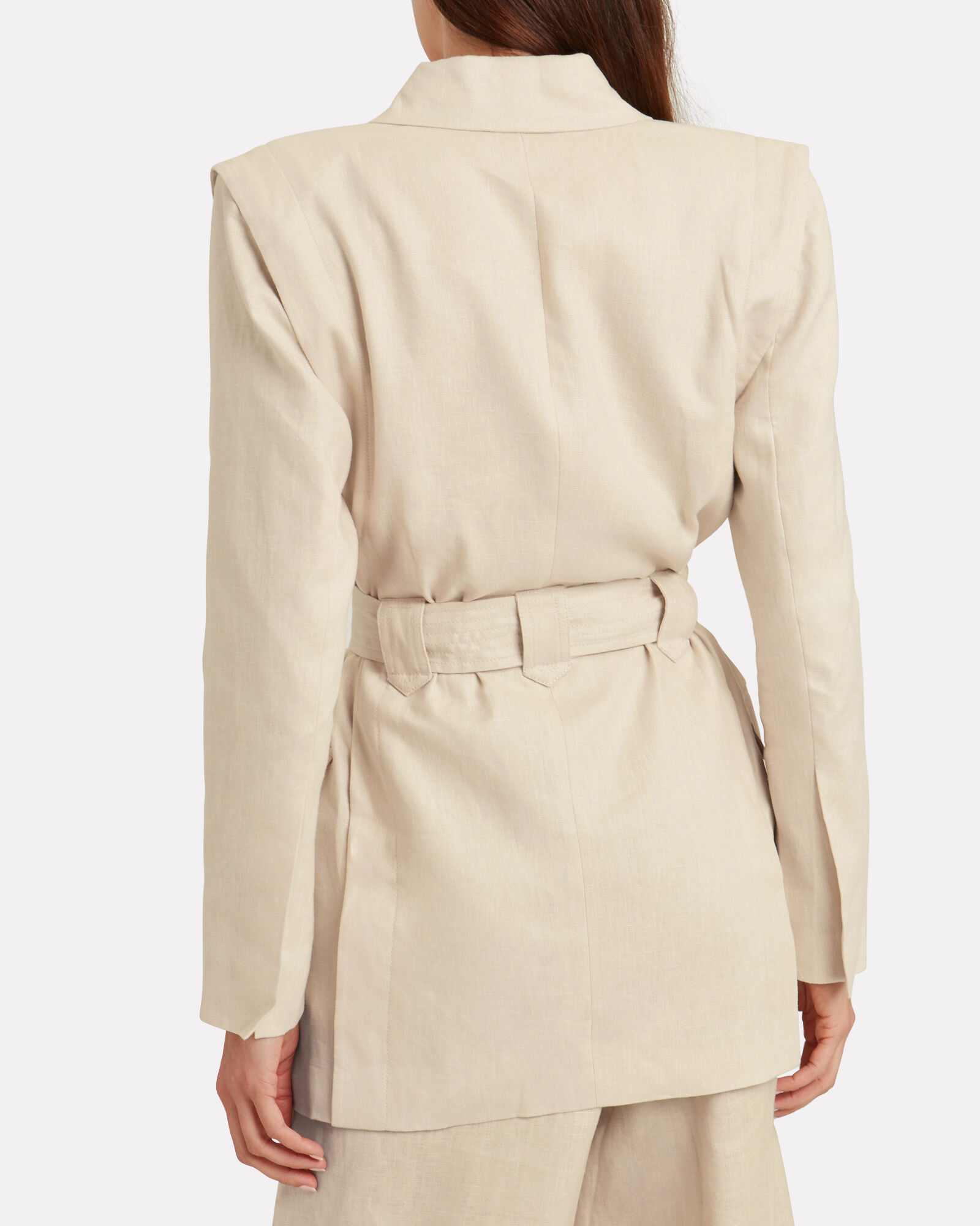 Veruschka Linen Double Breasted Blazer, BEIGE, hi-res