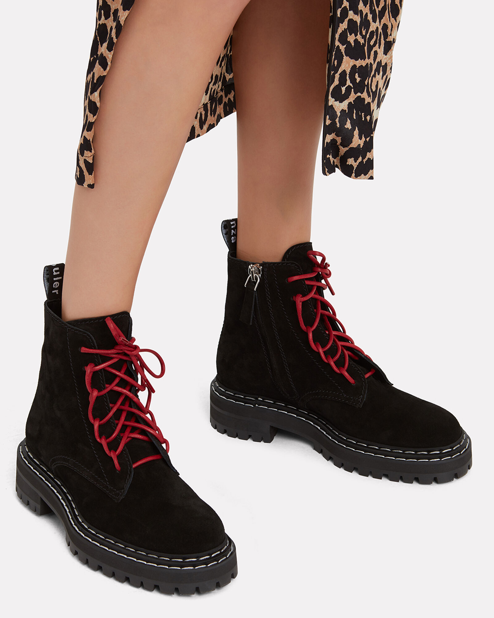 Red Lace-Up Combat Boots, BLACK, hi-res