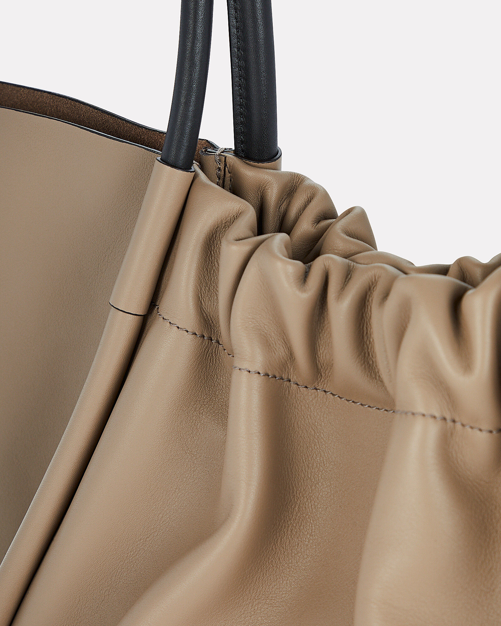 Ruched L Leather Tote, GREY, hi-res