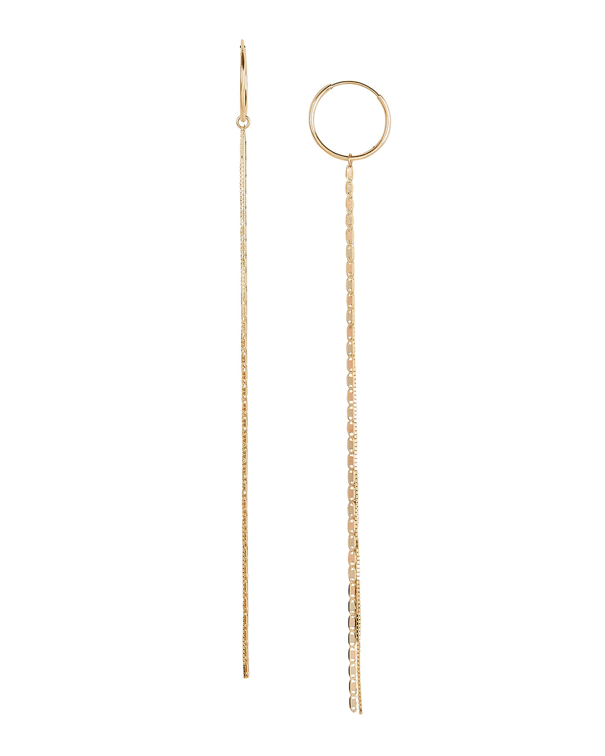 Baby Valentino And Fairy Floss Tassel Hoops, GOLD, hi-res