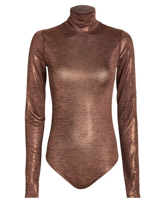 Hoyt Metallic Turtleneck Bodysuit, BROWN/METALLIC, hi-res