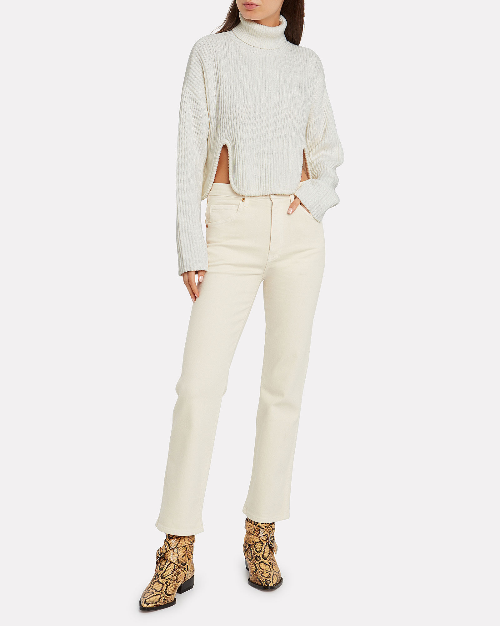Rolling With Waves Cropped Ribbed Turtleneck, IVORY, hi-res